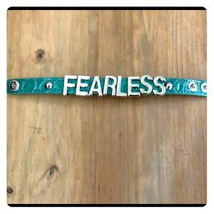 BCBG Jewelry - BCBG green croco Fearless message bracelet